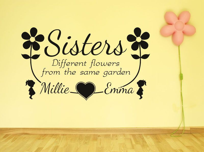 PERSONALISED Sisters Names Wall Sticker Wall Art Decal PVC Transfer ...